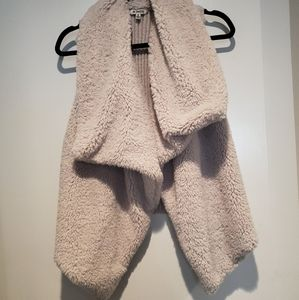 Shearling/knit vest